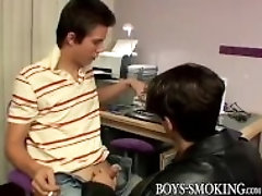 """Young gay chainsmoker blows dicks of his butt buddies"""