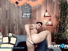Aiden Stronghold on Flirt4Free - Latino with Beautiful Cock Toys and Fingers His Tight Hairy Hole