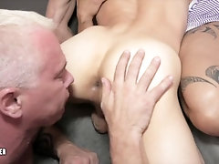 Sexy Muscle Daddy Anal Bareback Group Sex Compilation Gaping Bubble Ass Hunk Taking Two Daddy Dicks