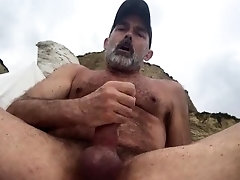EDGING MY BIG COCK at the BEACH!